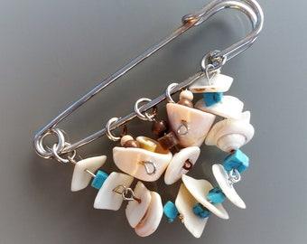 Seashell brooch length 7.5cm