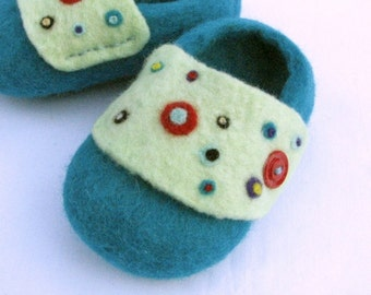 Teal and Multi Colored  Polka Dots Wet Felted Baby Booties/Slippers/Shoes