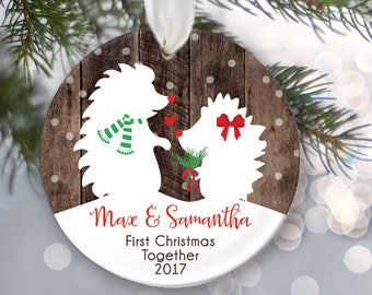 Hedgehog Ornament Hedgehog Our First Christmas Together Ornament Personalized Christmas Ornament with faux rustic wood Hedgie Ornament OR980