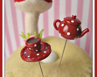 RESERVED for Patty Sahli Polka Dot Tea Party Teapot and Teacup