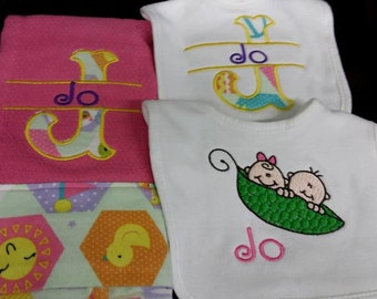 Custom made burp cloth and bib set for girls