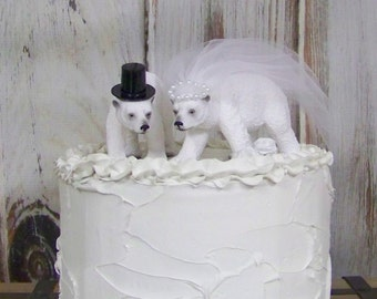 Polar Bear Cake Topper, Bear Wedding Cake Topper, Animal Cake Topper, Woodland Cake Topper, Forest Cake Topper