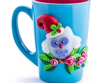 Polymer clay decorated mug.Decorated mug with owl . Handmade decorated mug.
