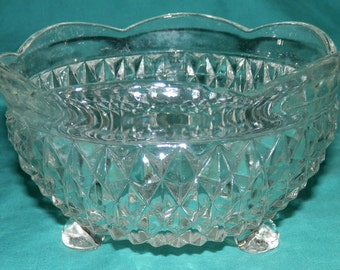 Vintage Diamond Cut  Footed Candy Dish