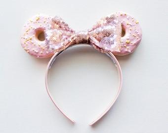 Donut Mouse Ears / Pink Donut Ears / Mickey Mouse Ears / Minnie Mouse Ears / Donut Headband / Disney Ears / Disney Donut Ears