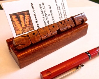 Desk Name and Business Card Holder in Leopardwood and Mahogany, Custom Carved to Order