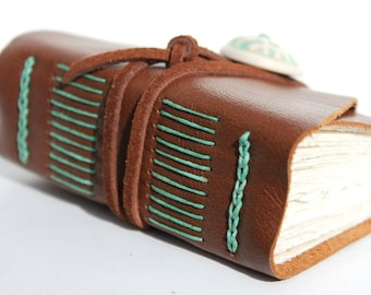 Chocolate Mint - Wee Chunky Book - Leather - Handmade by Wee Bindery on Etsy