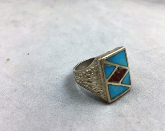 Vintage Men's Silver Ring with Turquoise and Coral Inlay Circa 1960's    02019
