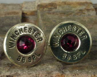Bullet  Earrings Ultra Thin - Garnet - January Birthstone