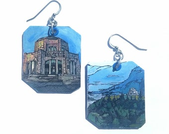 Vista House Columbia Gorge - pdx hand-painted earrings - Portland, Oregon