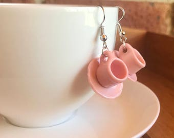 Pastel pink china miniature teacup and saucer earrings on silver hooks