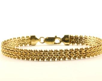 Vintage Ladies Herringbone Design Chain Bracelet 925 Sterling Silver BR 3166