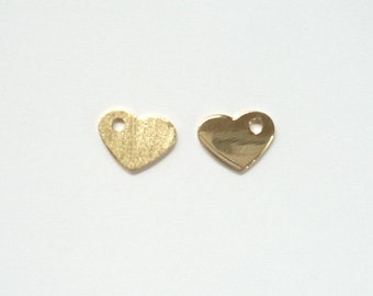 2 pcs Gold Vermeil heart charm.(9X7MM), One side shiny, one side brushed, Gold plated sterling silver