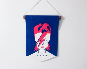 David Bowie hand-painted pennant flag, Bowie flag, bowie sign, album cover, bowie gifts, gift for music lover, wall hanging
