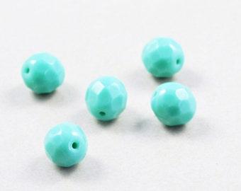 Aqua Beads, Czech Glass Beads, 8mm Beads, 5 Beads
