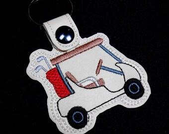 Golf Cart Key Fob, Golf Clubs, Cart Key Holder, Gift for Golfer, Christmas Gift, Stocking Stuffer, Color Choice, Customize, Marine Vinyl