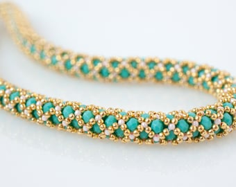 Turquoise beaded necklace - Czech glass and Japanese seed beads- Simmer jewelry