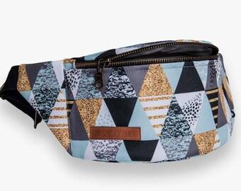 Triangles Fanny Pack, Waist Bag, Bum Bag, Hip Pouch, Belt Bag, Custom Made, Slow Fashion