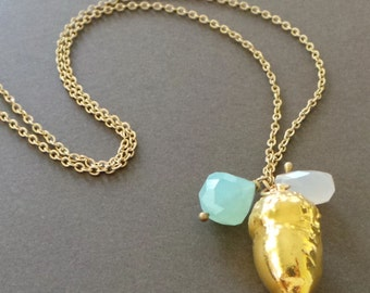 Gold Dipped Acorn Chalcedony Pendant Long Necklace - Sample Sale