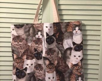 Large Cat tote bag