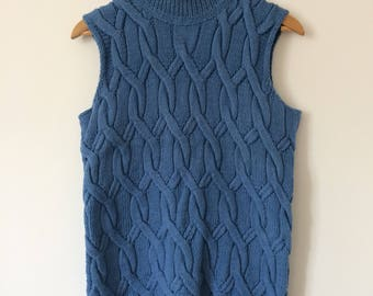 READY TO SHIP Hand Knitted Blue Thick Cotton Vest Sleeveless Jumper with Cables