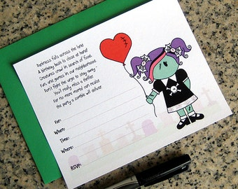 cute little zombie girl lined birthday halloween costume party customizable lined invitations with green envelopes DIY - set of 10