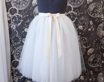 Ivory Plus Size Tulle Skirt with Ribbon Waist and Ties - Tea Length Adult Tutu - Custom Size, Made to Order