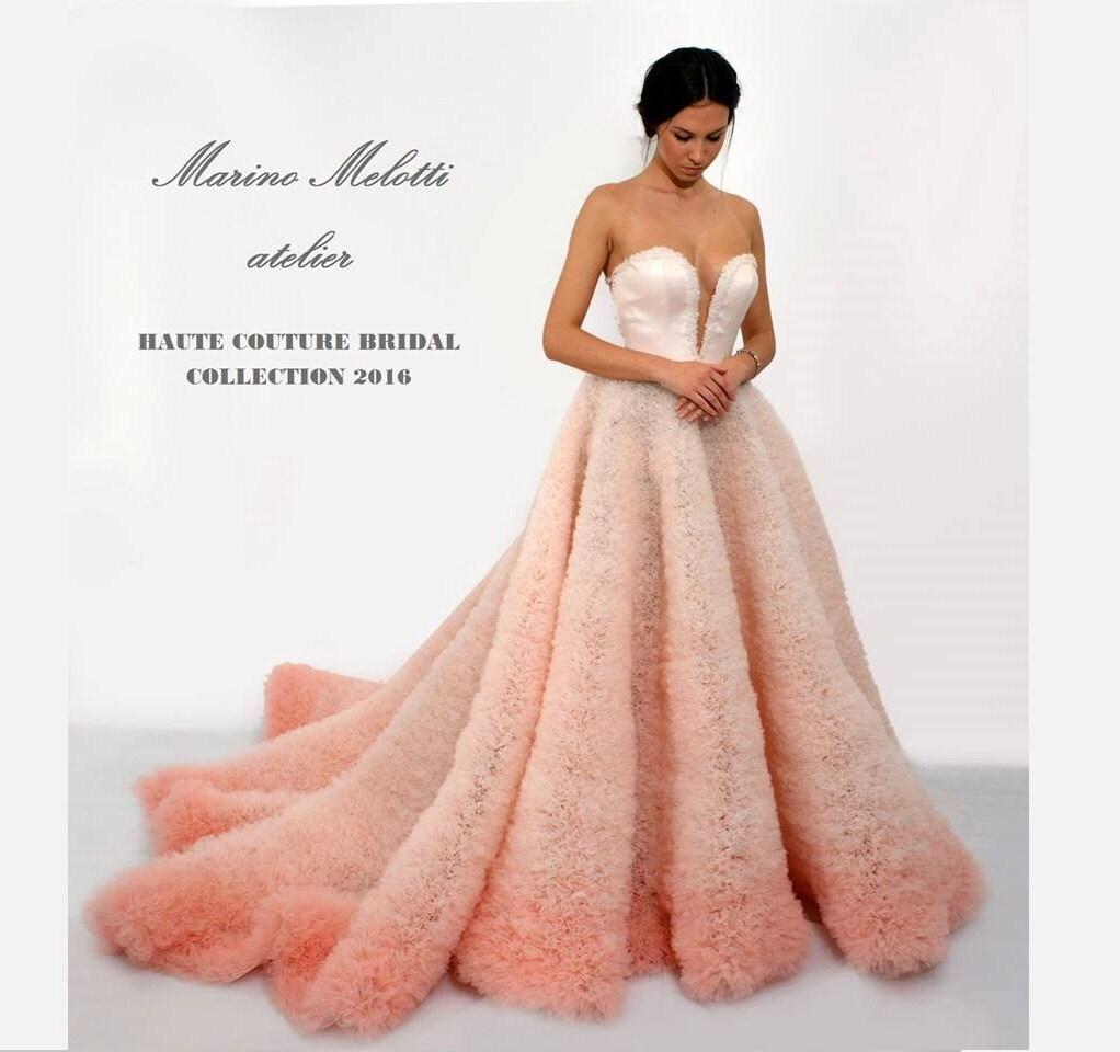 Ombre Hochzeitskleid in rosa lang und sexy Brautkleid mit