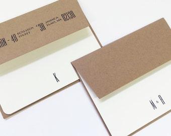 Personalized Stationery. Custom Letterpress Note Cards. Personalized Initial Stationery. Personalized Wedding Gift. Empire Style.
