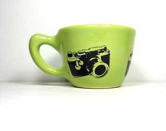 12oz cup w/ the camera of your choice, shown here in tinda green glaze w/ a Leica print - Made to Order / Pick Your Colour / Pick Your Print