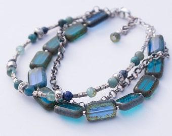 Blue Beaded Bracelet, Multi Strand Bracelet with Czech Glass Beads, Apatite Gemstone Beads, Sterling Silver Beads & Sterling Silver Chain