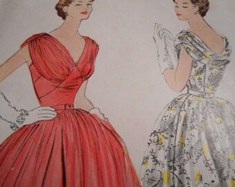 Vintage 1950's McCall's 9791 Dress Sewing Pattern, Size 14 Bust 32