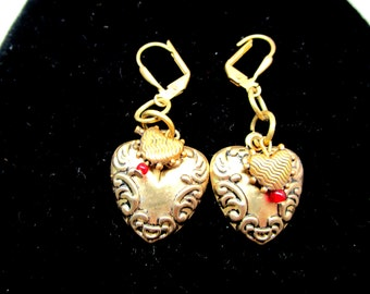Vintage Heart Earrings Art Nouveau Figural Double Hearts Sweetheart Brass Keepsake Reposse Swirled 80's Classic Valentines Gift Statement