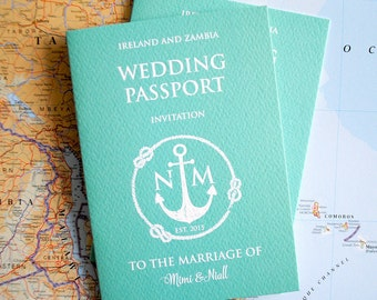 Passport invitation Etsy