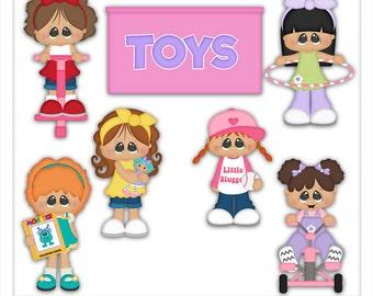 Digital Clipart - Girls Clipart - Girls Toys Clip Art - Kristi W Designs