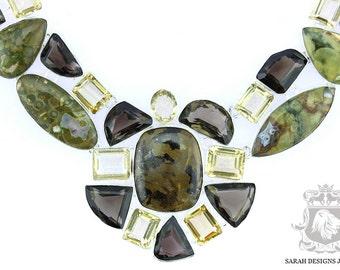 Large Size!! RHYOLITE Rainforest Jasper Citrine Smokey Topaz 925 SOLID Sterling Silver Necklace