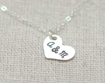 heart initial necklace. sterling silver. two initials for friendship and love. best friend necklace. sisters gift. gift for her under 50.