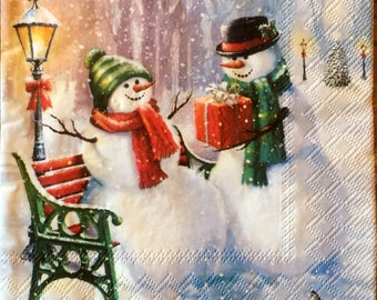 Decoupage Napkins, 4+1 FREE Single  Paper Napkins, SNOWMEN SURPRISE, 13 inches (33cm) for Decoupage, Paper-Craft and Collage