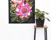Botanical Print Fabric wall art/ PASSIONFRUIT flower wall hanging/ Floral wall decor/ Vintage wall art/ giant floral poster/ bintage flowers