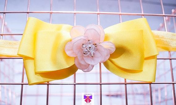 Pastel Yellow Grosgrain Ribbon Bow with Rhinestone - Baby / Toddler / Girls / Kids Headband / Hairband / Hair bow / Barette / Hairclip