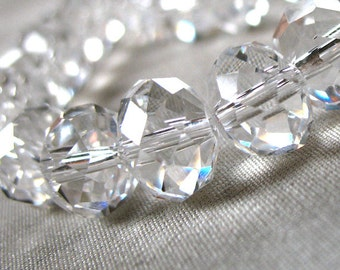 6mm Clear Crystal Rondelle beads NOT AB finish, 6mm x 4mm, 50 pieces.
