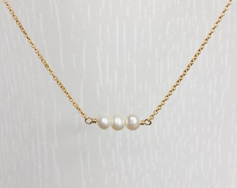 Pearl Necklace, Freshwater pearl, Gold chain, Beaded pearl necklace, Bar necklace, Bridesmaids Gift, June Birthstone, Gold pearl necklace