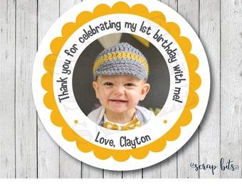 Custom Personalized Photo Stickers, Baby Photo Labels, Baby Photo Favor Tags, Custom Photo Stickers