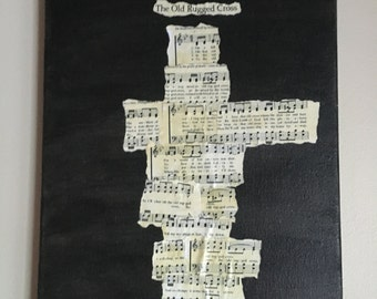 Old Rugged Cross Sheet Music Collage, Deconstructed Hymn Art, Old Rugged Cross Wall Hanging