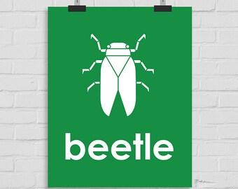 Beetle Wall Art, Nursery Wall Art, Beetle Print, Kids Wall Art, Playroom Art, Childrens Art, Modern Nursery Print, Printable Art
