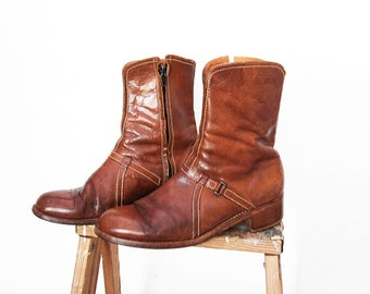 Vintage 70's Weeds Western Leather Boots - Florsheim - Beatle Moto Ankle Boots - Men's Size 9