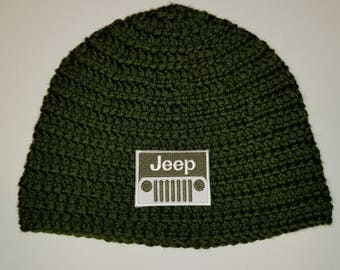 Jeep Beanie Army Green with same patch  *Customize your hat color*