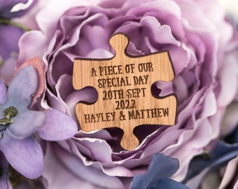 Custom Wedding Favors - 'A piece of our special day' - Puzzle Piece Favors - Puzzle Decor - Puzzle Decorations - Puzzle Pieces, 31TD