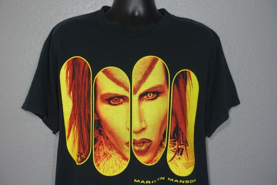 1998 RARE Marilyn Manson - Rock is Dead - Double Sided Mechanical Animals Vintage Concert T-Shirt