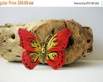 ON SALE Bold Bright HOLLYCRAFT larger Enameled Butterfly Pin 51418